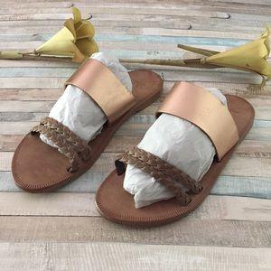 Joie Leather Rose Gold Slide Sandals, 41 or 11